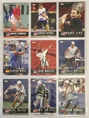 9 Autographed Ace Tennis Player Cards c.2005
