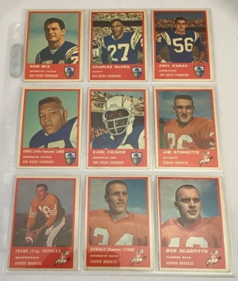 9- 1963 Fleer Football Player Cards