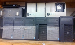 8 COMPUTER TOWERS, 2 ZEBRA THERMAL PRINTERS, HP DESKJET 6940 PRINTER