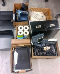 MISC LOT OF OFFICE SUPPLIES, CURTAIN & CURTAIN ROD, 2 CISCO 7941 PHONES, 2 DRAWER FILING CABINET, 2 ITHACA SERIES 90 PRINTERS, SCANMAKER 4800 SCANNER, HP OFFCEJET PRO 6230