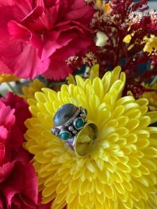 Sterling Silver Ring 1/ Turquoise & Dioxide Stones