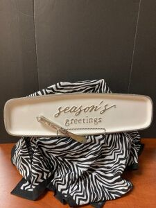Season's Greetings Platter and Knife