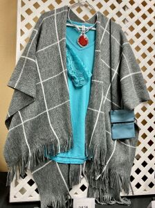 Grey & White Fringed Poncho, Teal Shirt, Italian Leather Pouch Purse, Silver w/Orange Slide Necklace
