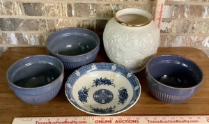 3 Pottery Bowls, Vase and Bowl