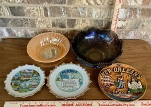 Fire King Bowl, Carnival Glass Bowl and State Collector Plates