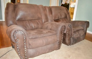 Two Leather Covered Recliners