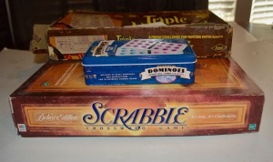 Parlor Games - Scrabble, Yahtzee, and Chicken-Foot Dominoes