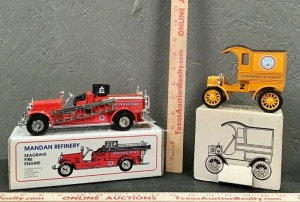 Model Fire Truck and Delivery Truck