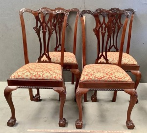 4 Antique Chippendale Style Dining Chairs