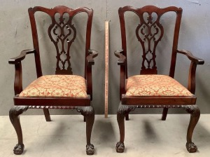2 Antique Chippendale Style Dining Captain Chairs