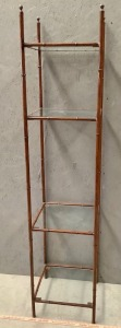 Metal Bamboo Style Square Shelf with Glass Shelves