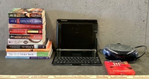 Books and iPad Case and Keyboard