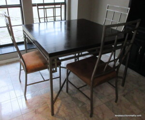Dining Table & 4 Chairs  - Polished Steel Frame & Wood Top