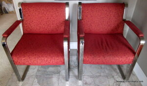 Metal Framed Upholstered Arm Chairs