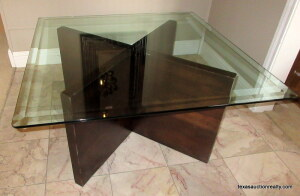 Beveled Glass Top Table on Wooden Base