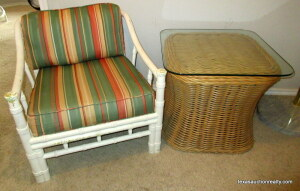 Wood Framed Chair and Wicker/Glass Top SIde Table