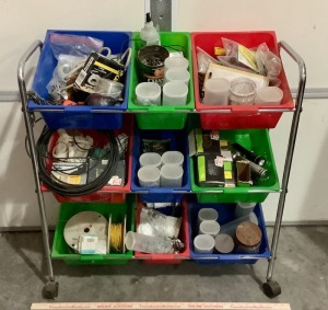 Rolling Cart with Hardware in Bins