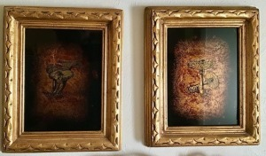 Pair of Original Art on Gold Leaf * Echruseos * Jack White