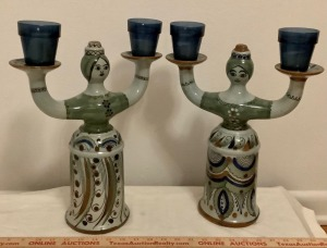 Glazed Pottery Candle Holders