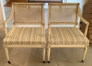 Pair of Wicker Back Padded Seat Rolling Chairs