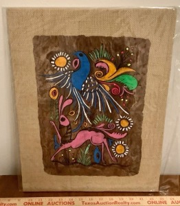 Painting on Bark, Mounted to Burlap from Mexico