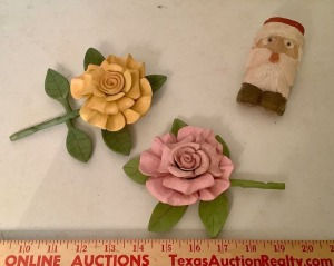 Carved Wood Flowers and Santa