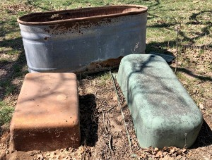 Galvanized Water Trough and 2 Fiberglass Troughs