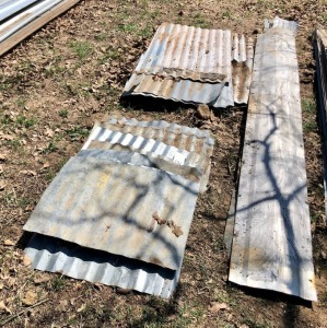 Corrugated Sheet Metal Assortment and 7 Old Ridge Caps
