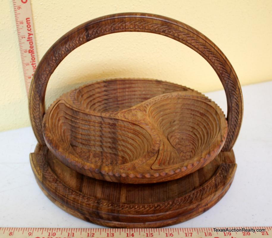 Wood Signature Collapsible Carved Wood Bowl