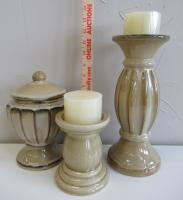 New Ceramic Set of Candle Holders and Cannister